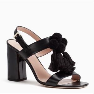 "Kate Spade ""Central Too"" Black Heels with Pompoms"